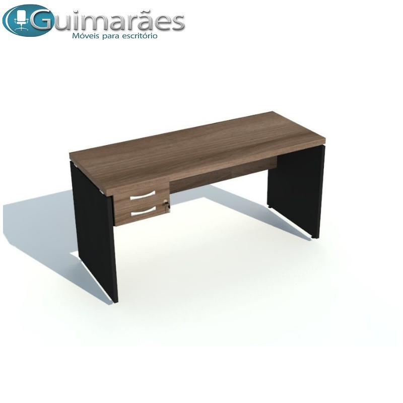 mesa reta secretária com gaveta